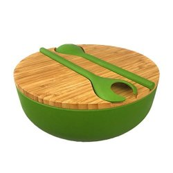 Our Eco-Friendly Home Bamboo Salad Serving Bowl Set With Lid And Utensils - Cute Wooden Bowl With Cutting Board Cover And Server