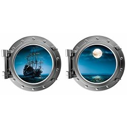 Decal The Walls Porthole 3D Viewscape Pirate Ship Full Moon Fabric High Definition Printed Wall Decal Ul Certified For Low Chemical Emmissions