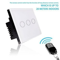 Smart Light Switch - Rf Touch Remote Control - 3 Gang No Neutral Required