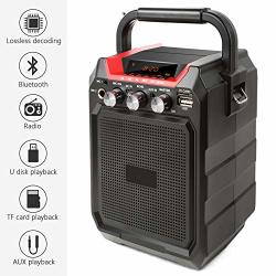 KIKBLW Portable Bluetooth Site Radio Wireless 3D Stereo Subwoofer Speakers Support Aux Fm Tf Microphone Remote Control