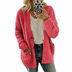 Women's Casual Long Sleeve Cardigan Solid Color Button Pocket Sweater Pink S