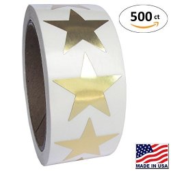Garage Sale Pup Gold Metallic Star Shape Foil Sticker Labels 500 Labels Per Roll 1 1 2 Inch Diameter 1.5