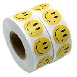 "Hybsk Tm Yellow Smiley Face Happy Stickers 1"" Round Circle Teacher Labels 1000 Total Per Roll 2 Pack"