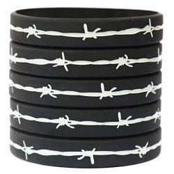 5 Barbed Wire Thin Gray Line Wristbands Correctional Officers Support