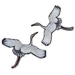 Panda Legends One Pair Black And White Chinese Style Crane Embroidered Applique Flying Birds Diy Clothing Decoration Applique Patch