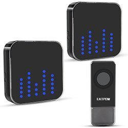 EATPOW Wireless Doorbell Door Bell Chime Kit 1 Push Button & 2 Plug - In Receivers Over 1000 Feet Operating Range With 4 Levels