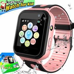 GreaSmart Kids Smart Watch Phone IP67 Waterproof Gps Tracker With Sim Pedometer Fitness Tracker Boys Girls Wrist Sport Watch Game Sos Alarm Clock Birthday Gift Pink