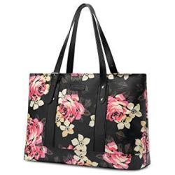 Utotebag Laptop Tote Bag For Womens 15.6 Inch Laptop Tote Bag Floral Shoulder Bag Lightweight Nylon Briefcase Classic Handbag Ha