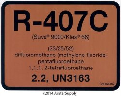 Klea 66 Refrigerant Labels - Color Coded Refrigerant Id Labels