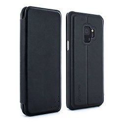 Proporta Official Samsung Galaxy S9 Protective Real Leather Folio Case - Carbon Opus