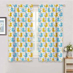 Guuvor Rubber Duck 99% Blackout Curtains Baby Ducklings Pattern With Little Hearts Love Animals Print Nursery Room For Bedroom Kindergarten Living Room W63 X