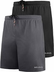 "Neleus Men's 7"" Mesh Running Workout Shorts Gym Basketball 6058 2 Pack Black Grey L Eu XL"