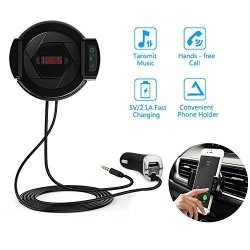 Changsha Hangang Technology Ltd Car Blue Tooth Fm Transmitter Hangang Wireless Fm Transmitter Car Phone Mount 360 Degree Rotation Compatible With Phone Size 2.1-3.2 Inch Hi-fi Hands-free Call