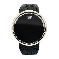Techno Pave Yellow Gold Plated Digital Touch Screen Sports Smart Watch With Black Silicone Band