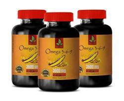 Heart Support Supplement - Omega 3 6 9 Complex 3600 Mg - Flaxseed And Fish Oil - 3 Bottles 360 Softgels