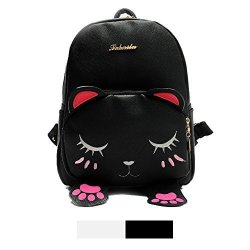 Backpack MINI For Girls Cute Cat Design Fashion Leather Bag Women Casual Fashion Black
