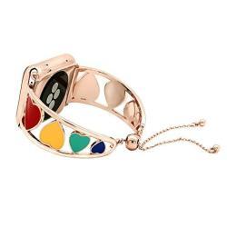 Kai Top Bracelet Compatible Apple Watch Band 42MM 38MM Rainbow Heart-shape Cuff Jewelry Iwatch Bands Series 4 3 2 1 Women Girls