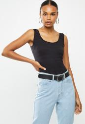 Missguided Shirred Bodysuit - Black