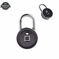 Fingerprint Padlock Biometric Lock Without App Smart Anti-theft Metal Waterproof Suitable For Lockers Gym School Office Door Bike Luggage Support USB Charging Black