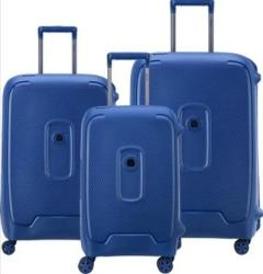 DELSEY Moncey 3 Piece Luggage Set Blue