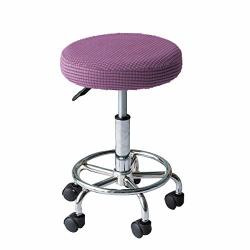 Womaco 2 Pack Round Stool Covers Stretch Bar Stools Seat Cover Barstool Cushion Round Slipcovers For 12 13 14 15 Inch Round Stool Light Purple 2 Pack