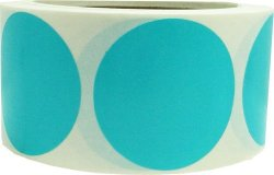 InStockLabels.com Teal Color Coding Labels Round Circle Dots 2 Inch 500 Total Adhesive Stickers