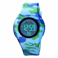 Tephea Kids Sports Watch Boys Digital Watch Multi Function Colorful LED Display Waterproof Wristwatches For Children Camo Blue