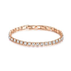 b001771180d CIVETTA SPARK Square Bracelet With Clear Swarovski Crystal Rosegold Plated