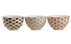 Tag Farm Fresh Bowl Set Of 3 Multi Colored Ceramic Set - Chicken Cow Pig Stoneware Printed Bowls 13 Oz