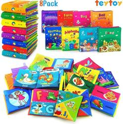USA Teytoy Soft Book Nontoxic Fabric Baby Cloth Activity Crinkle Soft Books With Gift Package For Infants Boys And Girls Early Educational Toys Pack Of