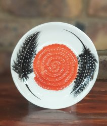 Guinea Fowl Feather African Grater Plate
