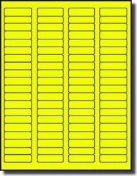 Label Outfitters, Inc. 8 000 Label Outfitters Fluorescent Neon Yellow Color Laser Only Labels Or Stickers 1.75 X 0.5 100 Sheets