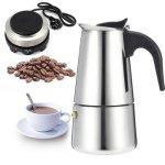 Espresso Moka Coffee Maker Pot Percolator Stainless Steel Electric Stove Electric Coffe