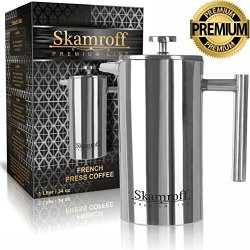 Skamroff Premium Stainless Steel French Coffee Press Double Wall Keep Warm And Safe For Making Perfect Coffee Or Tea Size: 1L 34OZ 8 Cups
