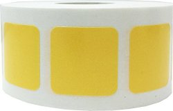 Yellow Color Coding Labels For Organizing Inventory 1 Inch Square 500 Total Adhesive Stickers On A Roll