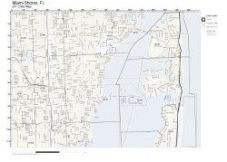 Zip Code Wall Map Of Miami Shores Fl Zip Code Map Not Laminated