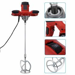 PORTABLE 1500W Electric Concrete Cement Plaster Grout Paint Thinset Mortar Paddle Mixer Pro Drill Mixer Stirring Tool Adjustable 6 Speed Handheld For Stirring Mortar