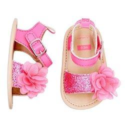 Carter's Girls' Strap Flat Sandal Pink Sugar Glitter And Plume 3-6 Months Size 2 Regular Us Infant
