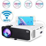 """Wireless Projector 2800LUX Weton MINI Wifi Projector 1080P HD 70% Brighter 175"""" Display Video Projector LED Portable Home Movie"""