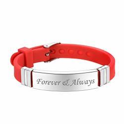 U7 Personalized Engraving Stainless Steel Id Bracelet Men Women Sport Style Wristband Ice name text Custom Office Identification Bracelets Bangle Red
