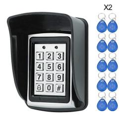 Hfeng 125KHZ Rfid Metal Access Control Keypad Waterproof Cover Standalone Access Controller For Door Lock SYSTEM+20 Pcs Keyfobs Keychains