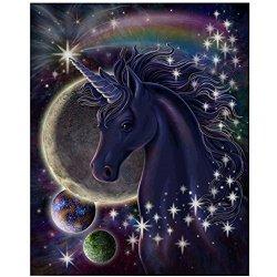 "TWBB Diy 5D Diamond Painting Kit Diamond Sticker Stitch Painting Sets Space Unicorn Pattern 12""X16"
