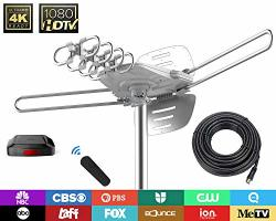 TV Antenna - 90% Pre-assembled 150 Miles Range Outdoor Motorized 360 Degrees Amplified HD For 2 Tvs Support - Uhf vhf 4K 1080P C