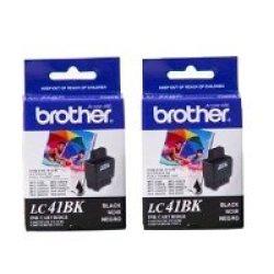 Brother Printer Brother Black Ink Cartridge - 2 Pack LC41BK2PKS - Retail Packaging