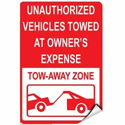 Unauthorized Vehicles Towed At Owner's Expense Tow Away Zone Warning Stickers Lable Decal Safety Signs And Stickers Vinyl For House Van Property Car Window