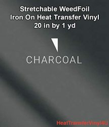 Stretchable Weedfoil Iron On Heat Transfer Vinyl 20 Inches By 1 Yard - Charcoal