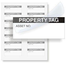 """MyAssetTag Property Tag Polyester With Clear Flap 140 Labels pack 1.5"""" X 0.625"""