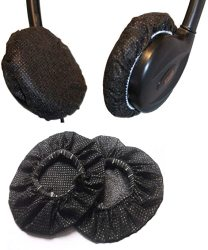 Stretchable 200PCS Headphone Earpad Covers disposable Sanitary Replacement Ear Covers For Headphones Black 9CM
