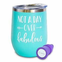 Not A Day Over Fabulous Wine Tumbler - 12 Oz Stainless Steel Tumbler With Lid - Includes Wine Stopper - 30TH 40TH 50TH 60TH