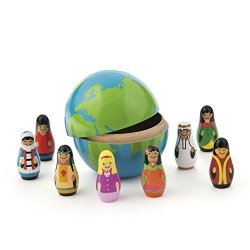 THAISAN7 9PC. Multicultural Wooden Nesting Children Of The World Globe Toy Dolls